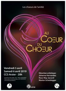 Affiche du spectacle : des cœurs en divers roses entrelacés avec le titre du spectacle Au Cœur du Chœur.